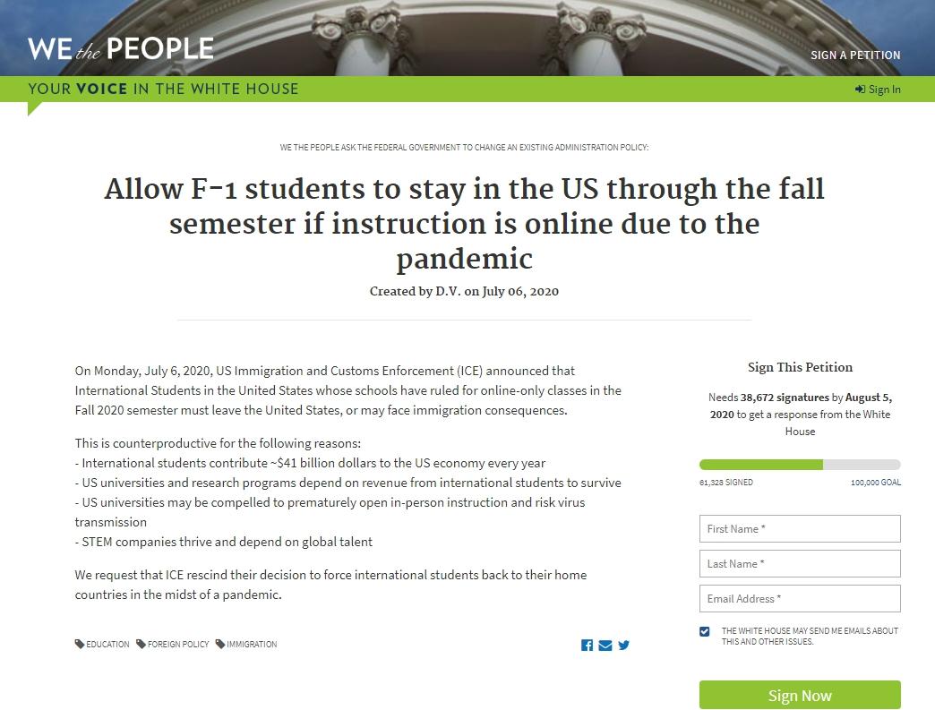 一名麻省理工學院(MIT)畢業生發起請願書,籲聯邦移民及海關執法局(ICE)撤銷昨日發出的國際學生今秋全網課不能留在美國的新規定。圖/截取自白宮請願網站