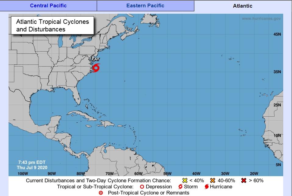 熱帶風暴Fay接近紐約。(擷自國家颶風中心)