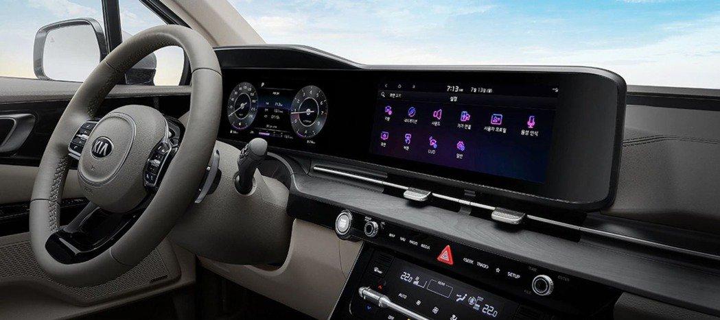 第四代Kia Carnival在高階車型中導入了雙12.3吋的數位儀表與中控螢幕。摘自Kia