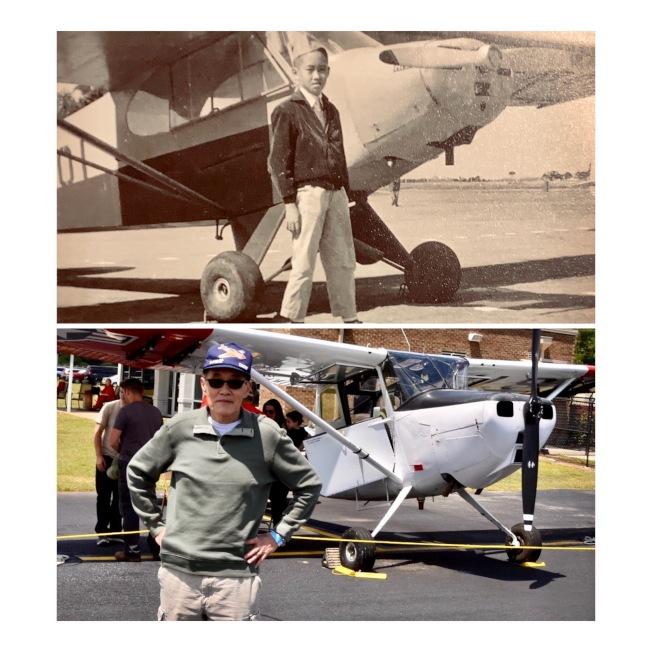 上圖為作者童年首次飛行體驗。下圖為時隔一甲子後,在同一機型前留影。