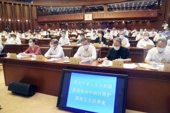 大陸全國人大常委會昨天全票通過「香港特別行政區維護國家安全法」。(新華社)