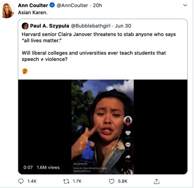 加諾爾發視頻聲稱會攻擊任何「有膽量、純粹白人至上而說「大家的命都是命」的人」。(取自推特)