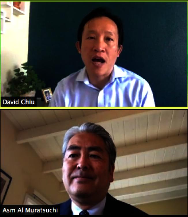 南北加州兩位亞裔州議員邱信福(上)和土村。(視頻截圖)