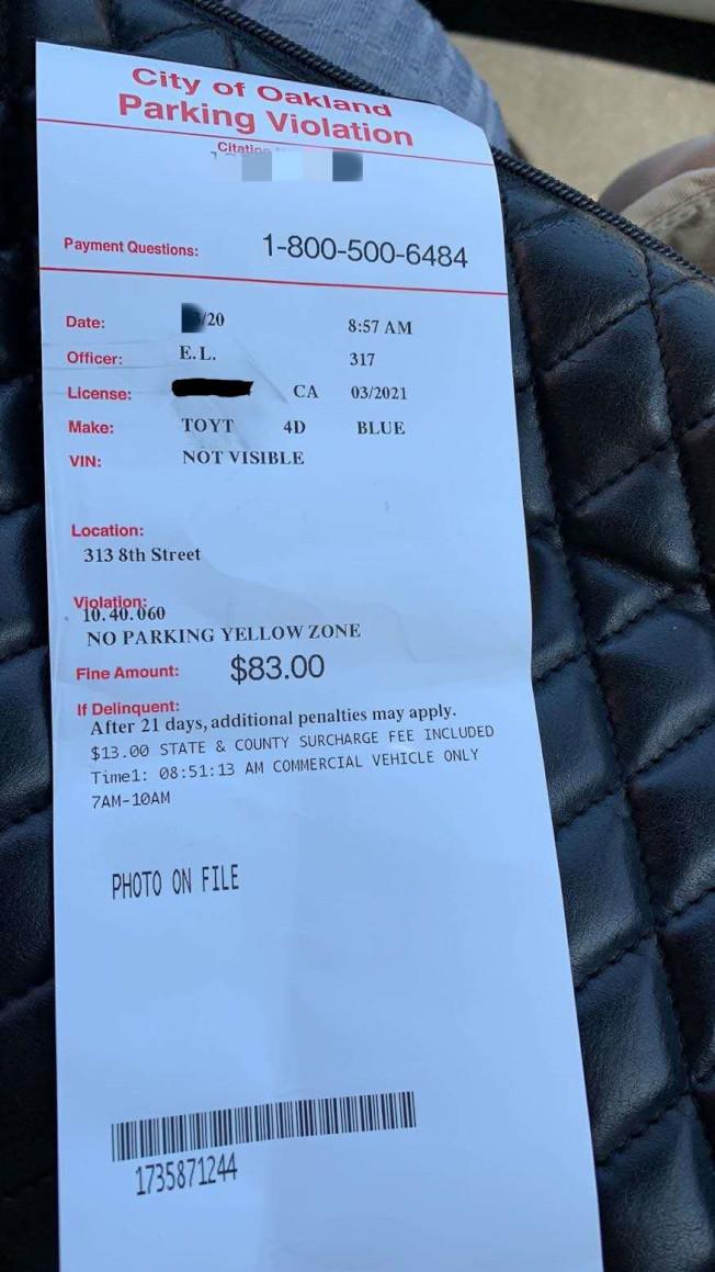 華人Sue Wu朋友提供的停車罰單。(Sue Wu供圖)