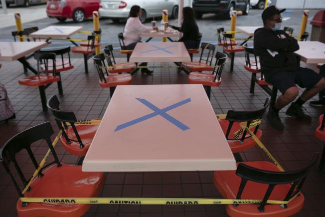 加州1日新冠肺炎新增確診近5900例和死亡逾110例,過去兩周確診增加近50%,住院率也成長43%;州長紐森宣布關閉洛杉磯等19郡的酒吧和餐廳堂食。圖為一家餐廳的一張桌子打著X記號,禁止顧客入座,以保持社交距離。(美聯社)