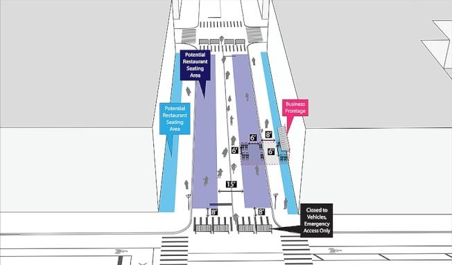 紐約市擴大後的戶外用餐街區示意圖。(市府提供)