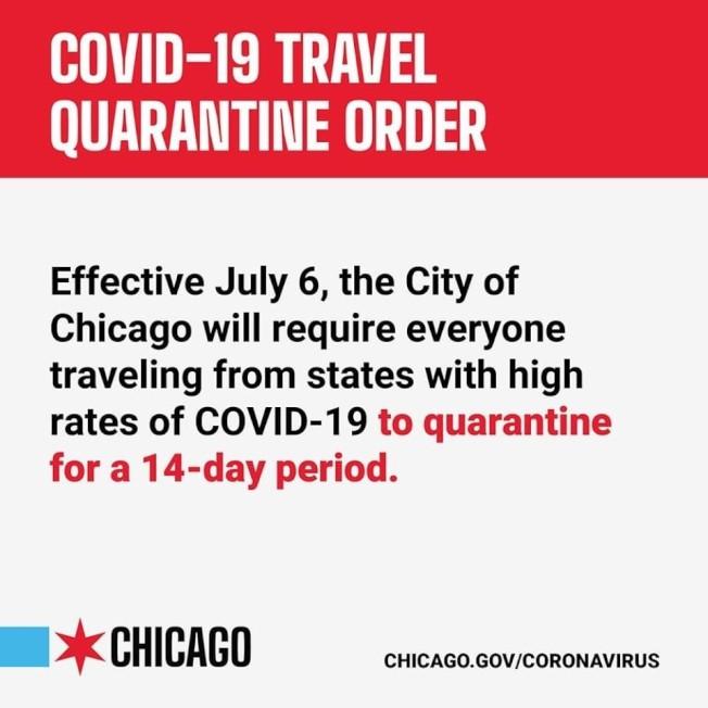 芝加哥從6日起將施行旅行隔離令。(芝加哥市長辦公室)