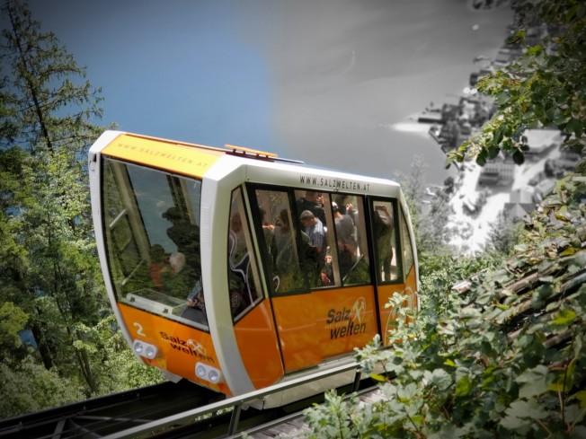 前往塩礦場的登山纜車。