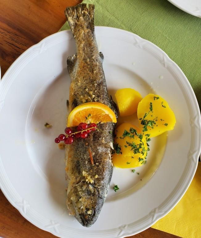 美味的大蒜汁煎鱒魚。