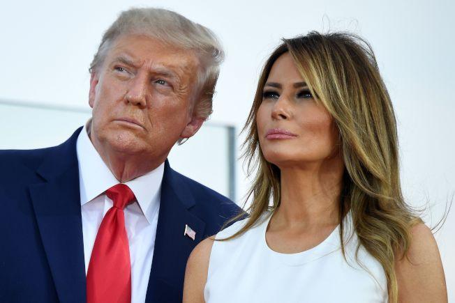 川普總統和第一夫人於國慶日觀賞煙火。(Getty Images)