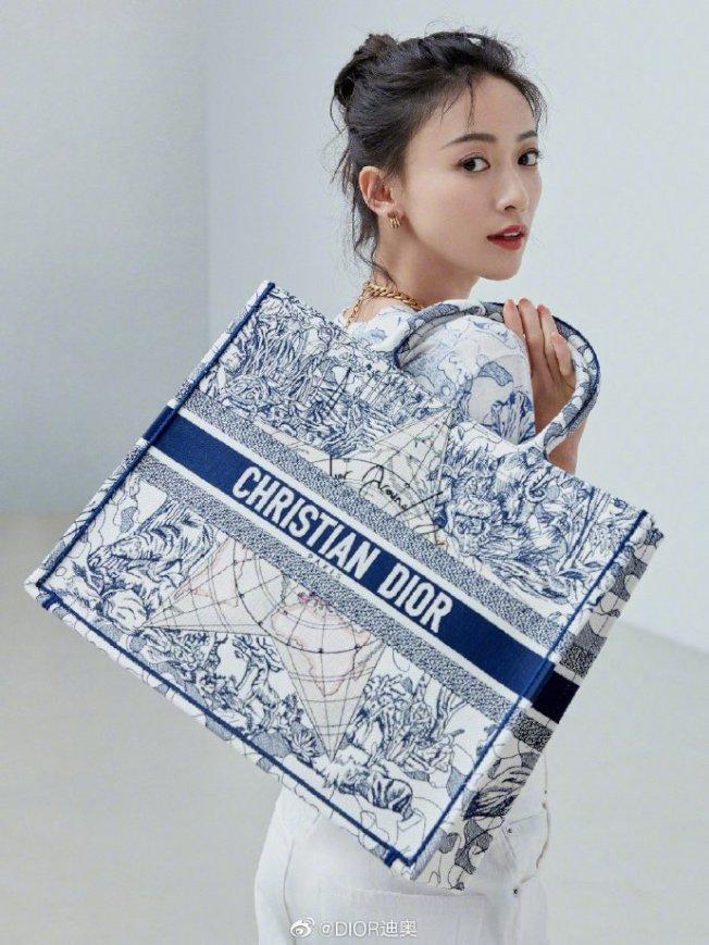 吳謹言搭配DIOR環遊世界藝術圖騰刺繡帆布Book托特包。取自微博