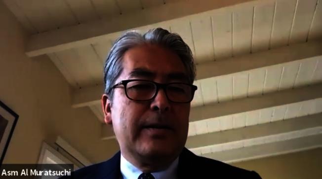 加州眾議員Al Muratsuchi參與日前舉行的「反仇恨亞裔」線上報告。(記者陳開/攝影)