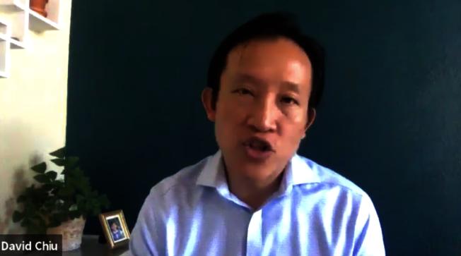 加州眾議員邱信福(David Chiu)參與日前舉行的「反仇恨亞裔」線上報告。(記者陳開/攝影)