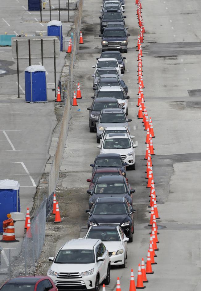 佛州與德州都報出單日確診病例新增案件持續增加。圖為佛州的檢測人數明顯增加,在邁阿密花園市居民駕車排隊檢測。(美聯社)