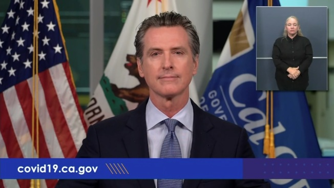 加州州長紐森表示將加強執行新冠肺炎相關規定的力度。(電視新聞截圖)