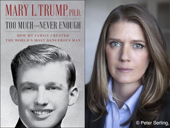 川普總統姪女瑪麗‧川普(右圖)所寫的家族內幕爆料新書(左圖),部分內容搶先曝光。(美聯社)