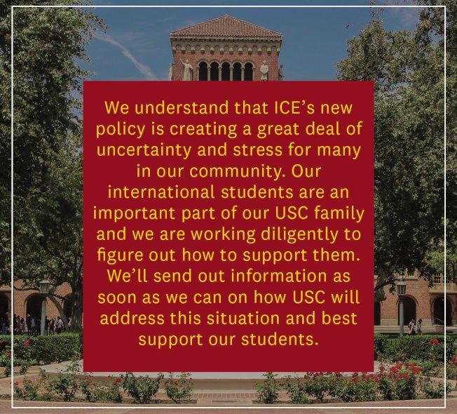 南加大(USC)7日亦指出,正在研究ICE新規,以尋求解決之道。(取材自USC)