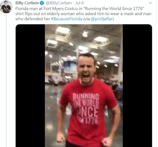 佛州一名男子在好市多商場沒戴口罩還發飆,結果遭公司炒魷魚。(圖取自推特)