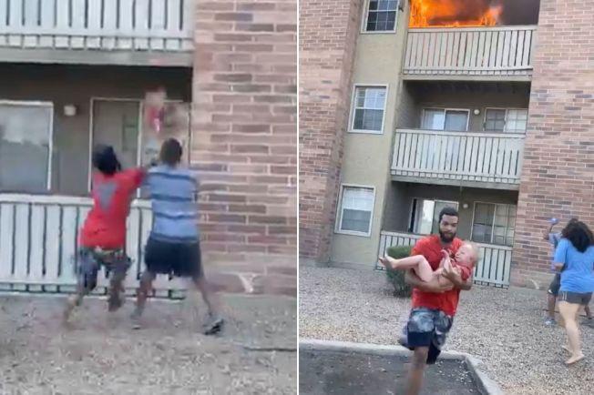 鳯凰城3日發生火災,一名三歲小男孩被他臨死的母親自三樓火海中抛下樓,前海軍陸戰隊員布朗克斯(左圖左和右圖),衝向前方把小男孩穩穩接住。(取自臉書)