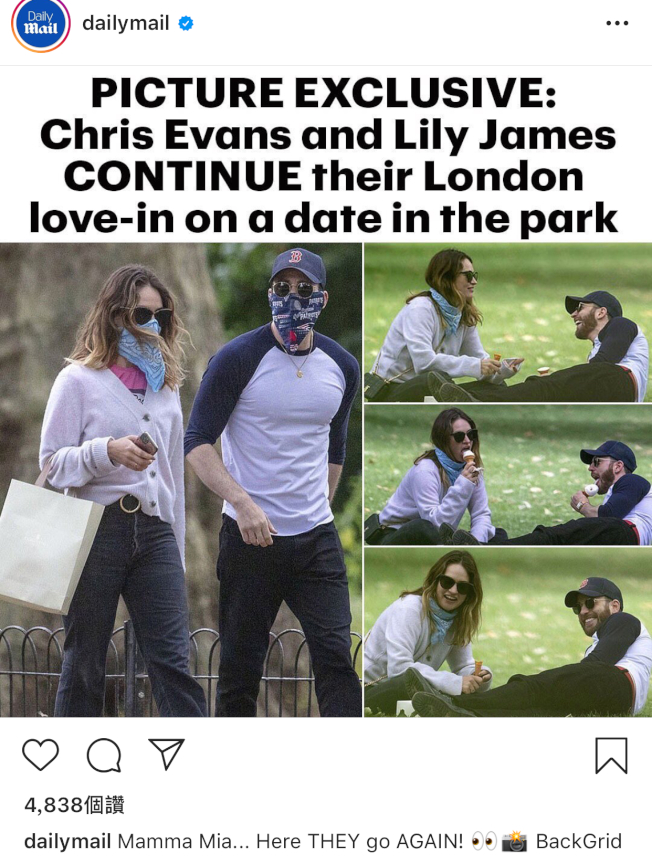克里斯伊凡與莉莉詹姆斯又被拍到約會。(翻攝自Instagram/Daily Nail)