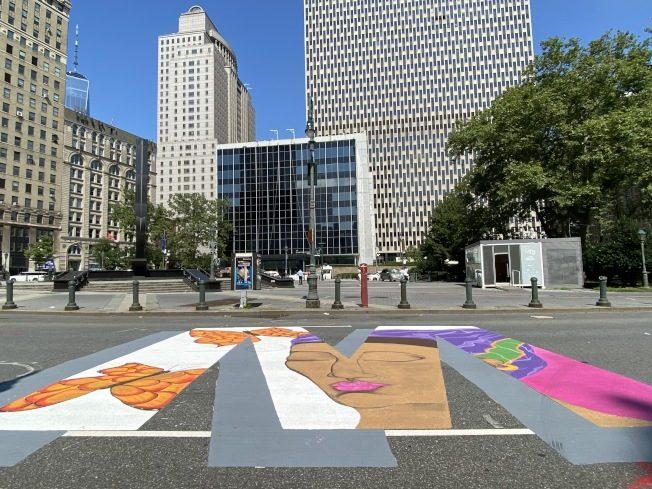 """曼哈顿中央街""""黑人命也是命""""彩绘完工 设计者说明创作理念"""