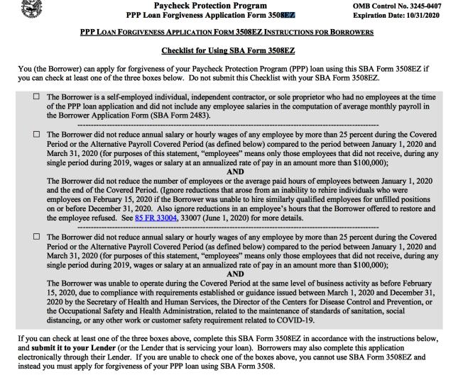 SBA在6月中旬釋出新的豁免申請簡易版本(EZ form) 。(截圖自SBA官網)