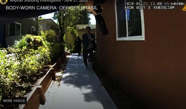 嫌犯持刀跑向警察,警察隨即對他開槍。(密爾比達警局提供)