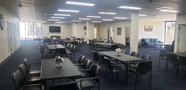 Infinity成人日間保健中心(Infinity ADHC)大廳。(記者鄭敖天/攝影)