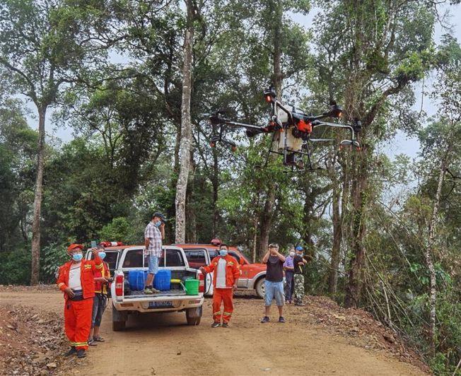 在雲南普洱,工作人員開展飛防作業防控黃脊竹蝗。(新華社)