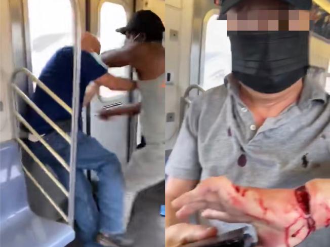 2老翁無故遭非洲裔刺傷 一受害者為73歲亞裔 。(視頻截圖)