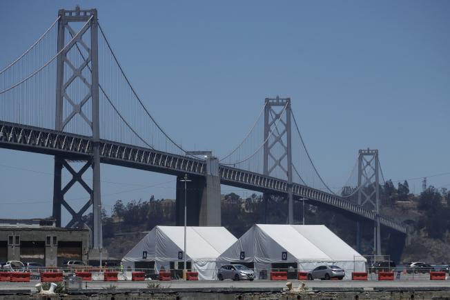 加州疫情升溫,舊金山的金門大橋前設了病毒檢測站。(美聯社)