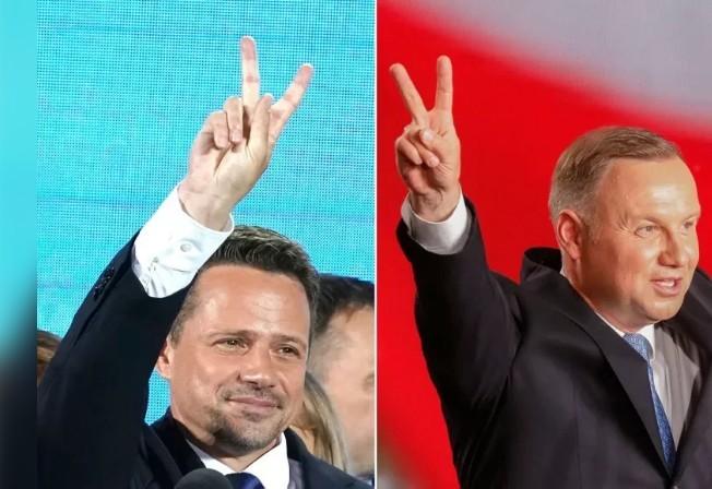 波蘭今舉行總統大選第二輪決選,現任總統杜達(右)和華沙市長佐薩斯科斯基對歐盟關係政治分歧。圖╱GettyImages