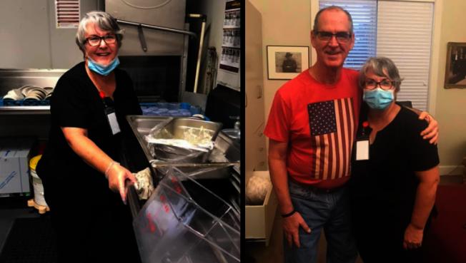 57歲的瑪莉‧丹尼爾(左圖)因為新冠肺炎疫情已經114天無法探視在失智照護中心的丈夫史蒂夫(右圖左)。為了見丈夫,她接下照護中心的洗碗工作。取自推特