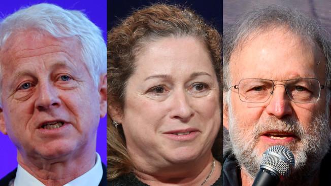 左起,導演柯蒂斯、女繼承人阿比蓋爾‧迪士尼,及著名冰淇淋品牌創辦人格林菲爾德,呼籲政府對富人加稅,協助經濟復甦。(Getty Images)