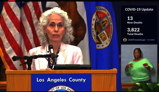 洛杉磯縣公共衛生局局長費若。(洛縣府視頻截圖)