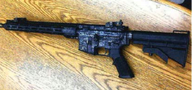 華盛頓州男子亞倫攜帶這把AR-15步槍準備到舊金山「處理」一名股票經紀人。(北加州地方法院提供)