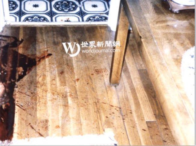 謀殺65歲的退休卡車司機兇案現場發現了大量血跡。(李昌鈺提供)