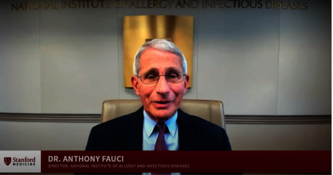 史丹福大學醫學院院長麥納與國家過敏和傳染病研究院院長佛奇,13日進行網路視訊爐邊談話。(史丹福大學提供)