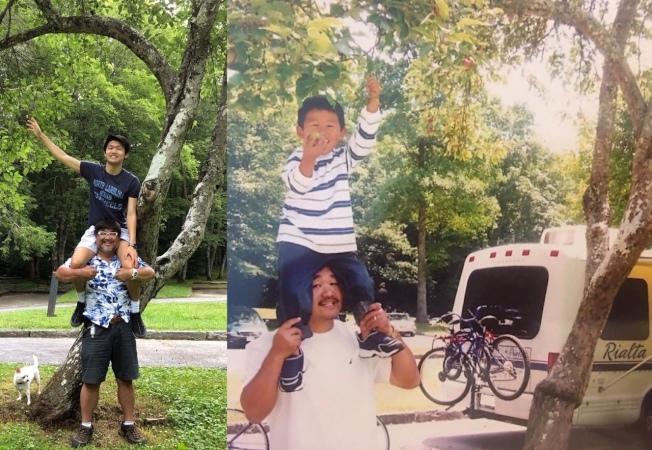王逸生(Ethan Wang)重拍16年前坐爸爸王凱平肩頭的鏡頭。(陳淑華提供)