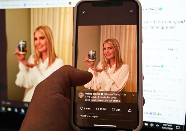 身兼白宮顧問的川普女兒伊凡卡.川普在推特發文支持哥亞食品。Getty Images