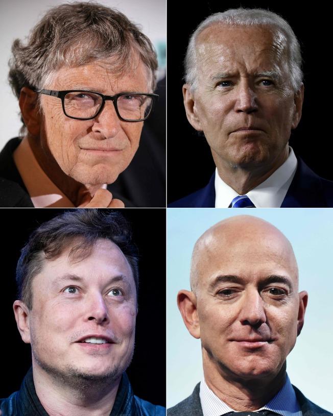 比爾蓋茲(左上順時鐘方向起)、白登、貝佐斯、馬斯克等人的推特帳戶都遭駭。(Getty Images)