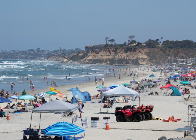 加州新冠疫情升高,單日新增確診14日以1萬1126例破紀錄,海灘上仍有不少遊客。(路透)