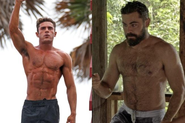 柴克艾福隆在「海滩救护队」(左)中的健壮体格,现(右)已有明显改变。图/摘自imdb、Netflix