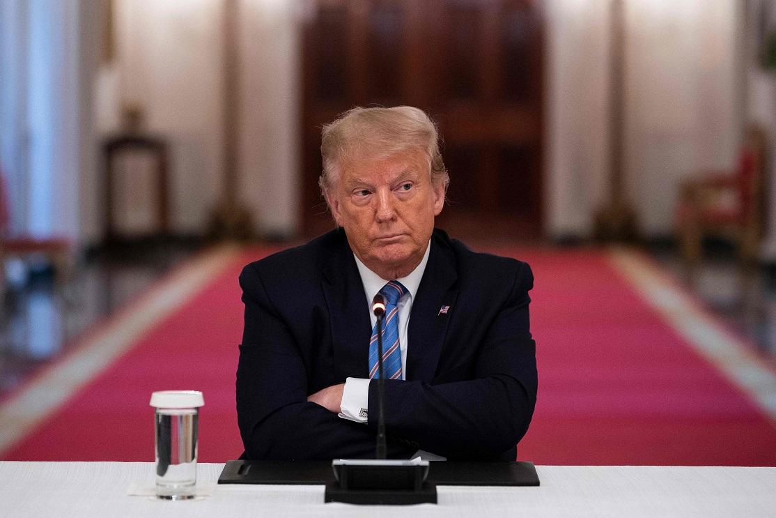 7日在白宮東廂的川普總統。(Getty Images)