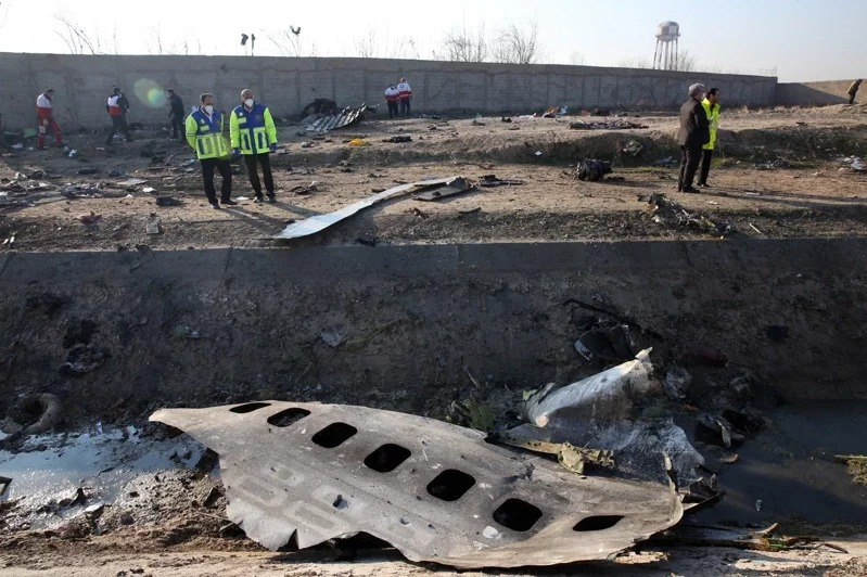 烏克蘭航空公司一架波音737客機1月8日凌晨墜毀於伊朗首都德黑蘭近郊,機上176人全數罹難。 (歐新社)