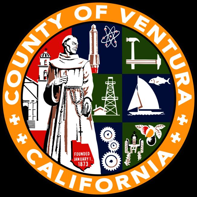 范杜拉縣目前使用的縣政徽章,徽章左半部的傳教士畫像便為此次陷入爭議的西班牙傳教士塞拉。(范杜拉縣政府網站)