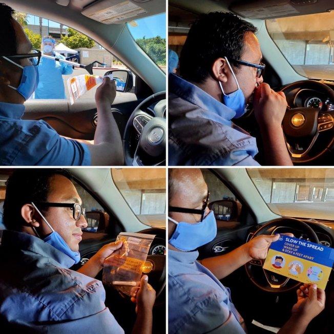 橙縣衛生局在安那罕市增設得來速(drive-thru)新冠肺炎測試點。(橙縣衛生局官網)