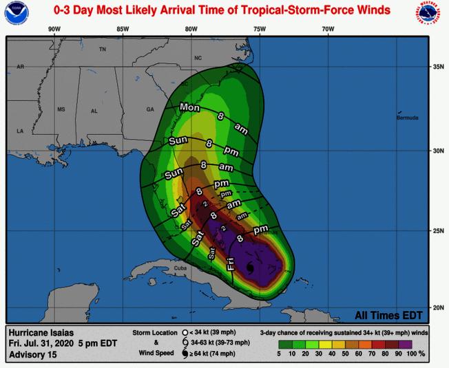 國家颶風中心預計颶風將在周六下午和晚上到達佛羅里達州的颶風警告地區。 (國家颶風中心推特)