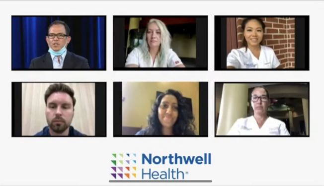 北岸大学医院的医护人员日前响应州长的号召,支援德州;右上为陈惠儿。(视频截图)