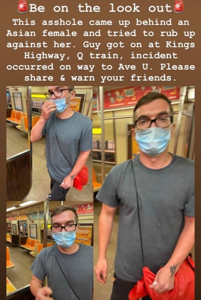 該名男子涉嫌在布碌崙地鐵站公然猥褻一名華裔女子。(取自臉書)